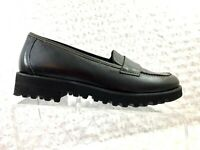 Paul Green Munchen Women's Black Leather Moc Stitched Platform Loafer-Size 6