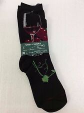 Wheel House Designs Red Wine Grapes Crew Adult Women's Black Socks New