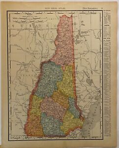 Antique 1911 Rand McNally Map of Vermont and New Hampshire