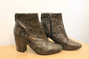 TOPSHOP Brown Faux Snakeskin Ankle Boots Block Heel Size 5 Autumn Winter Trend