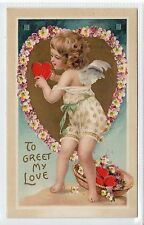 """TO GREAT MY LOVE: Valentine """"cut out"""" hold to light postcard (C21467)"""