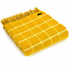 TWEEDMILL TEXTILES 100% Wool Sofa Bed Blanket Throw Rug CHEQUERED CHECK YELLOW