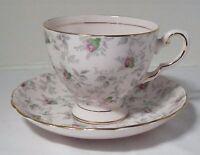 Tuscan Fine English Bone China Teacup Tea Cup Saucer Pink Rose Buds Gray Gold