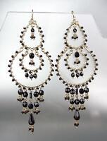 CHIC Artisanal Black Onyx Crystals Beads Gold Chandelier Dangle Earrings 1363BK