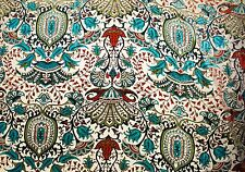 """100% SILK VELVET BURNOUT GOLD AND TURQUOISE FABRIC 45"""" WIDE BY THE YARD"""