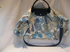 Longchamp Fleurs de Revello Limited Edition Blue Print Duffle Bag