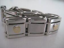 Hombre tornillo pulsera 9 Quilates Sólido Oro Amarillo y blanco 12mm