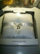 """NEW Wedding Ring Bearer Pillow - Wilton Brand - 6"""" X 6"""" - with silver hearts"""