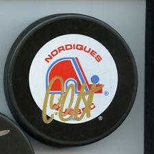 LANE LAMBERT QUEBEC NORDIQUES SIGNED HOCKEY PUCK w/ COA
