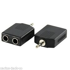 NEW 2X 6.35MM STEREO FEMALE TO 3.5MM STEREO MALE PLUG