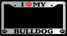 Chrome License Plate Frame Peace Love Paw Dog Auto Accessory Novelty 385