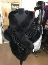 BLACK FOX CRYSTALS DETAILS SHAWL WRAP SHRUG CAPE COCKTAIL PARTY CHIC FASHION NEW
