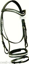 "Designer ""U"" Shaped clear crystal browband show bridle free reins Full Black"