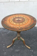 Late 18th, Early 19th C. Queen Anne Hand Painted Round Tilt Top Table