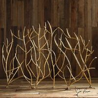 "MODERN 48"" BRANCH STYLE BRIGHT GOLD FORGED METAL DECORATIVE FIREPLACE SCREEN"