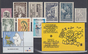 Finland Sc 150/1218 MLH./MNH. 1928-2004 issues, 10 singles + Intact Booklet