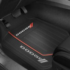 (2) DODGE LOGO Floor Mats  ~ Front Rubber All Weather Factory Liners Black & Red