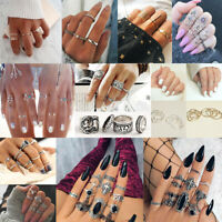 Gold Silver New Midi Finger Ring Set Vintage Punk Boho Knuckle Rings Jewelry