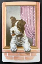 Vintage Swap/Playing Card - CUTE DOG AT WINDOW - MINT