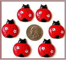 6 PC LADYBUG WITH FLOWERS RED BLACK LADYBUG FLATBACK FLAT BACK RESINS