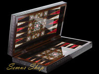 LUXUS BACKGAMMON TAVLA Intarsien Look XXL Sedef Tavla