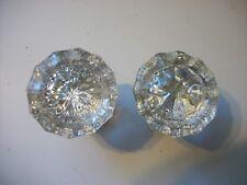 Set of Antique Glass 12 Pt. Door Knobs