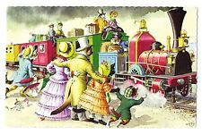 Mainzer postcard Dressed Cats at the train # 4726 scalloped edges cat