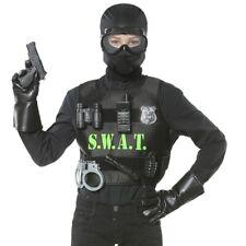 9 tlg. Set KUGELSICHERE POLIZEI WESTE S.W.A.T Kinder Kostüm Polizist Agent  #323