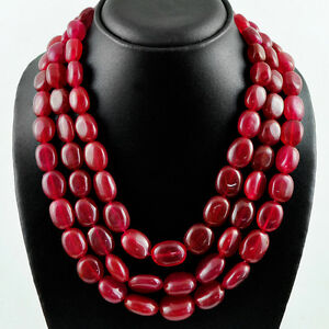 RARE 1325.00 CTS EARTH MINED 3 STRAND RED RUBY OVAL SHAPE BEADS NECKLACE (RS)