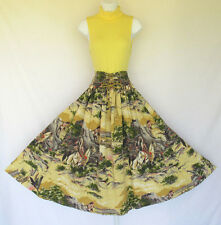 VINTAGE 1950s 60s AMERICAN INDIAN SCENES NOVELTY SKIRT COTTON BLEND LACES HORSES