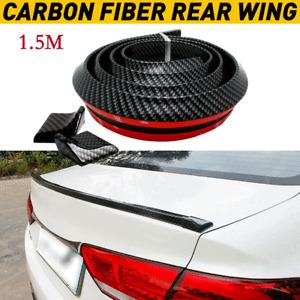 1.5M Universal Car Rear Roof Trunk Spoiler Wing Lip Sticker Black Soft Rubber