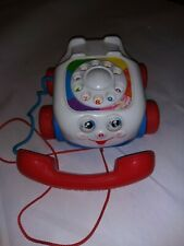 Vintage 1993 Fisher Price Phone Telephone Rotary Red Pull Toy Moving Eyes Wheels