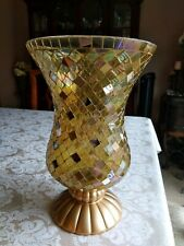 Party Lite Gold Global Fusion Mosaic Hurricane Candle Holder