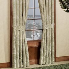 """Tommy Bahama Montauk Drifter Window Curtain 84X84"""" Green Ivory Floral Palm Leaf"""