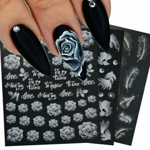 Rose Feather White 3D Nail Stickers Decals Transfer 3D Nail Art Decoration