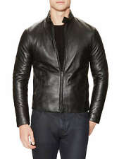 New Armani Collezioni Men's Black Leather Motorcycle Biker Jacket 38 48 S M Lamb