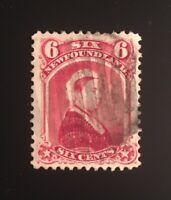 Stamps Newfoundland SC36 6c carmine lake QV of 1894 Please see description