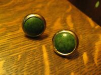 Groovy Mid Century Cufflinks - Vintage 1960s Gold Metal Green Leather Cuff Links