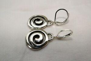 Altered Brighton Vertigo Swirl Silver Charm On Lever Back Earrings