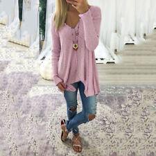 Plus Size Womens Long Sleeve V Neck Irregular Tops Loose Blouse T-Shirts Sweater