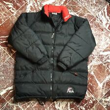 Vintage Fila Down Coat Jacket Men's XL Goose Down Fill Red Black Logo Spellout