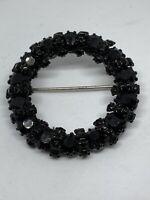 Vintage Japanned Black Enamel Jet Rhinestone Circle Wreath Mourning Brooch Pin