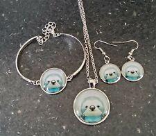 Sloth Design Glass Cabochon Necklace,Bracelet,earrings Jewellery Set