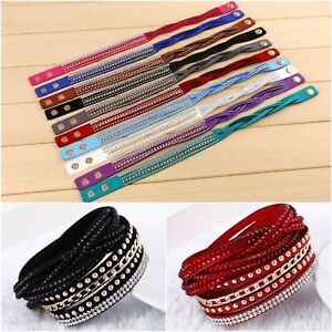 Unisex Multi-layer Leather Bracelet Cuff Gift