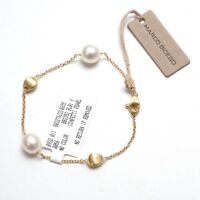 """New MARCO BICEGO 18K Gold Chain 7.4"""" Bracelet with Pearls"""