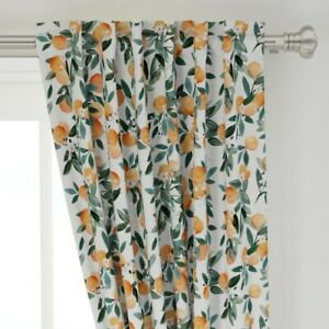 """Citrus Fruit Nectarines Oranges Clementines 50"""" Wide Curtain Panel by Roostery"""