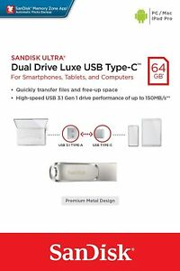SanDisk Ultra Dual Drive Luxe 32/64/128/256GB Type-C 150MB/s USB 3.1 Memory-UK