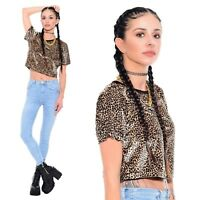 Vtg 90s Leopard Print CRUSHED VELVET Rave Club-Kid Grunge Cyber Crop Top Shirt