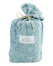 Lin De Luxe 100% Linen Queen Duvet Cover Set teal french blue floral paisley New