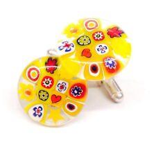Yellow Flower Glass & Silver Murano Millefiori Floral Cufflinks.